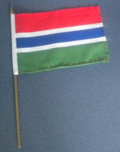 Gambia Country Hand Flag.